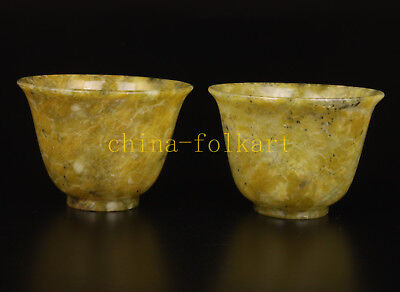 Pair Rare And Precious Stone Carving Old Wine Cup Small Bowl