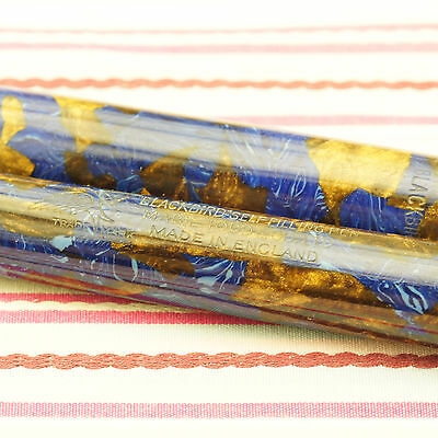 Vintage Mabie Todd Blackbird Self-Filling Bb2/46 Blue Gold Marble Fountain Pen