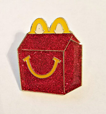 New McDonald's Lapel Pin Red Glitter Happymeal Smile Box