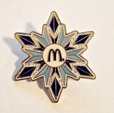 New McDonald's Lapel Pin Christmas Holiday Blue Glitter Snowflake