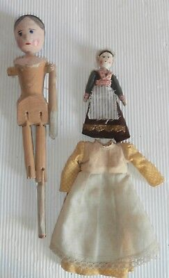 2 antique  small  Grodnertal  peg  wooden  articulated DOLLS  complete  n.3 AS