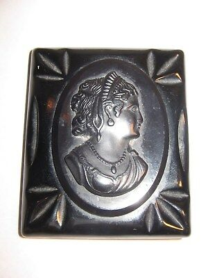 Bakelite Cameo Brooch Pin Large Black Chunky Costume Jewelry Vintage #s24