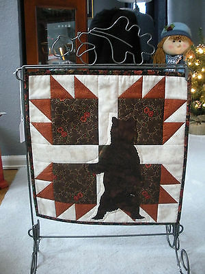 Bear Paw quilt on Metal Stand