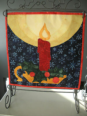 Christmas Candle quilt block on metal stand
