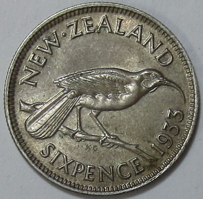 New Zealand 6d 1933 EF with Die Crack