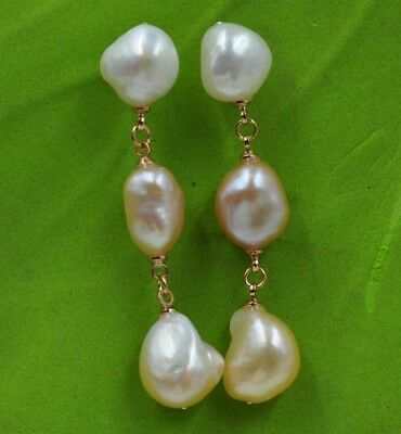 Natural Rare multicolor 11*13mm Baroque freshwater pearl earring J14466