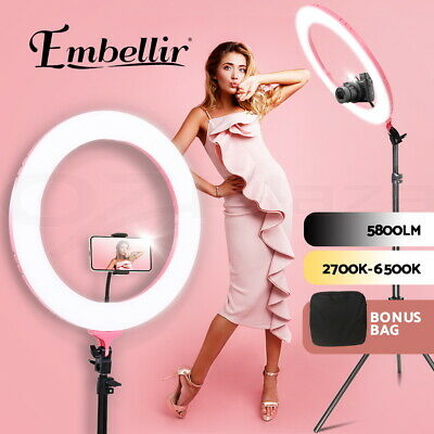 "19"" 5600K Dimmable LED Ring Light 480 LED with Diffuser Stand Make Up Studio SL"