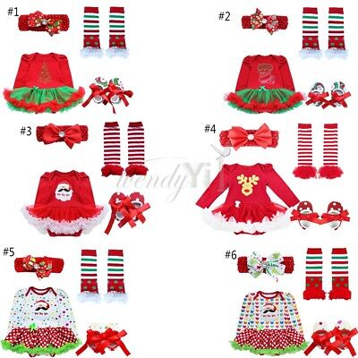 Christmas Newborn Baby Girl Tops Romper Pants Shoes Warmer 4Pcs Outfits Set 0-9M