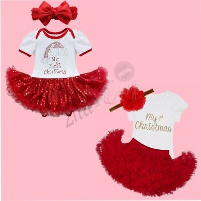 My First Christmas Newborn Baby Girl Romper Tutu Dress Skirt Costume Outfits Set