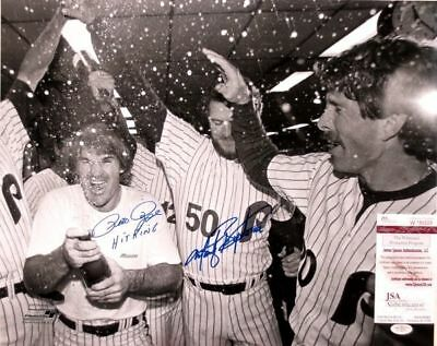 Pete Rose & Marty Bystrom Dual-Signed Phillies B&W 16x20 Photo JSA