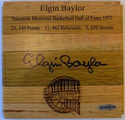 Elgin Baylor Los Angeles Lakers Signed Floorboard Piece UDA