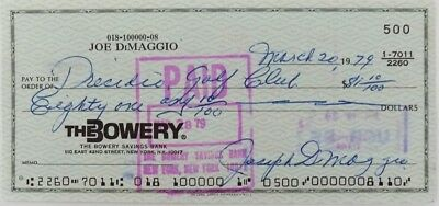 Joe Dimaggio Signed (full signature) Bank Check # 500 JSA Auction House LOA