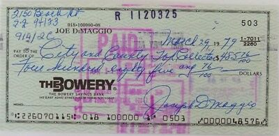 Joe Dimaggio Signed (full signature) Bank Check # 503 JSA Auction House LOA