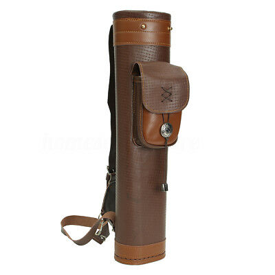 Men Traditional Genuine Leather Archery Back Arrow Quiver Hunting Pouch Belt Bag