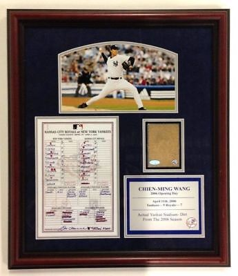 Chien Ming Wang Framed Collage w/ Game Used Dirt & Replica Line Up Card