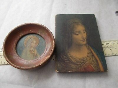 2 Pretty Small Old Wall Hanging Prints.holy Mary.untouched Original Conditio