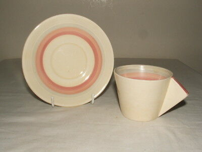 Clarice Cliff Art Deco Bizarre Pink Banded Conical Coffee Duo Truly  Stunning