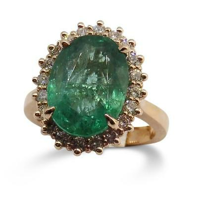 Emerald Ring, 5.17ct Centre Stone set in 14kt Pink/Rose Gold with 0.48cts Diamon