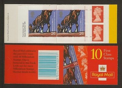 GB Stamps: Decimal Machin Barcode Booklet HBA2 with Cylinder Number.