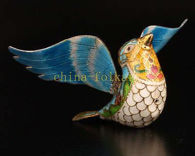Authentic Traditional Craft Cloisonne Statue Doves Figurine Gift Collection