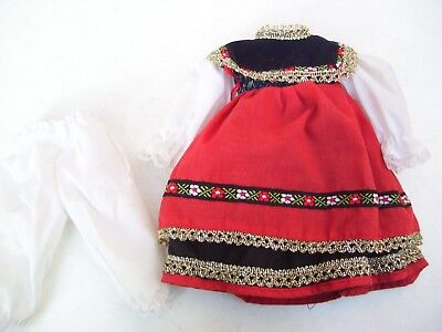 Alte Puppenkleidung Black Forest Folk Dress Outfit vintage Doll clothes 30c Girl