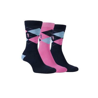 Glenmuir Golf 2017 Ladies Jacquard Cushion Sole Socks UK 4-8 (Pink 3x Pairs)