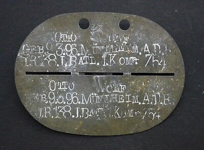 WW1 German Soldier Tag token. Infantry Division of the Infantry Regiment