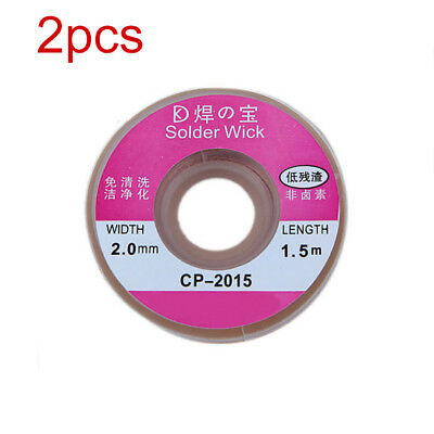 2pcs 2.0MM Solder Wick Remover Desoldering Braid Wire Sucker Cable Fluxed Flux