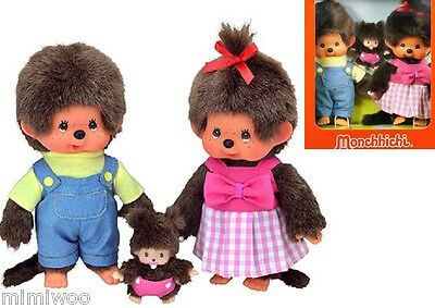 Monchhichi S Size Plush MCC Boy & Girl + BBCC Bebichhichi Baby Family Box Set