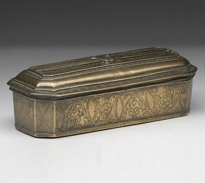 Antique Dutch Brass Incised Tobacco Box 18Th C.