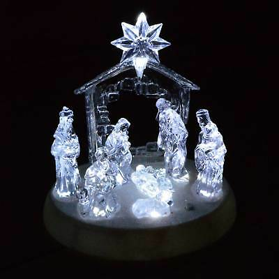 20cm Premier Acrylic Nativity Scene Christmas Decoration - Lights Up & Sings