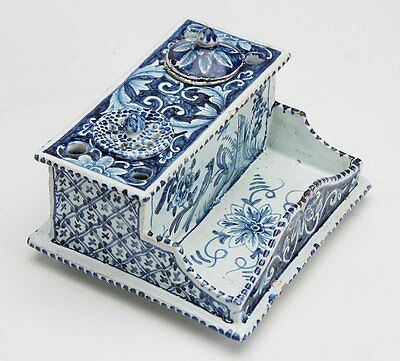 Delft Hand Painted Inkwell & Desk Stand 1680 – 1720