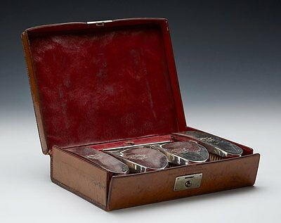 ANTIQUE WILSON & GILL SILVER MOUNTED GROOMING SET c.1909