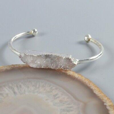 Natural Agate Druzy Geode Bangle Silver Plated T046895