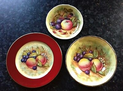 3 Early Pieces Of Aynsley Orchard Gold 1 Plate 2 Dishes Green Backstamp England