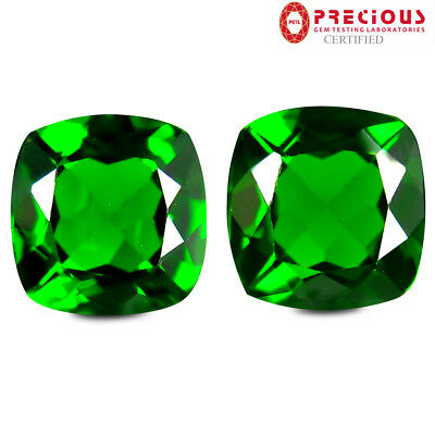 2.16 ct (2pcs) PGTL Certified  MATCHING PAIR  Cut (6 x 6 mm) Chrome Diopside