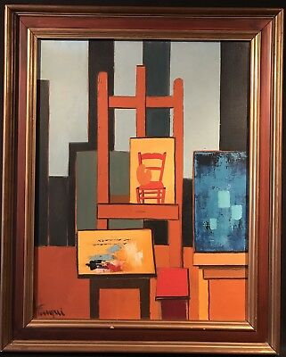 Large 1970's French Cubist Signed Oil Painting - View Of Artists Atelier - Dated