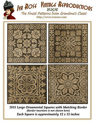 1915 Large Size Filet Lace Insertions Ornamental Square