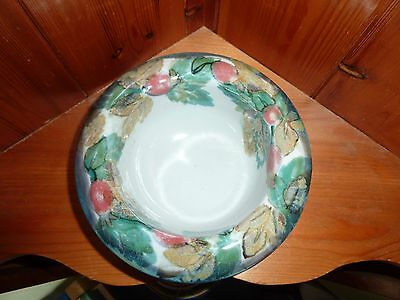 Scottish Highland Stoneware Free Hand Painted Bowl Red Berries Perfect Signed