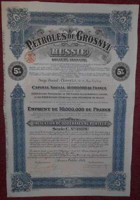 31281 RUSSIA 1919 Petroles of Grosnyi 5% Series C Bond with coupons