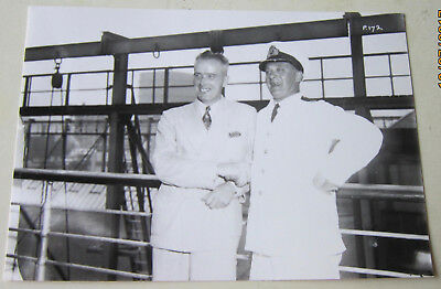Rms Queen Mary- Original Photograph Of Commodore Irving With Al Williams-1938