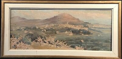 1930's FRENCH IMPRESSIONIST SIGNED OIL - PANORAMIC VIEW OF MANOSQUE PROVENCE