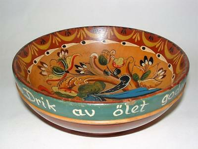 Superb Vintage Scandinavian Norwegian Rosemaling Hand Painted Wood Folk Art Bowl