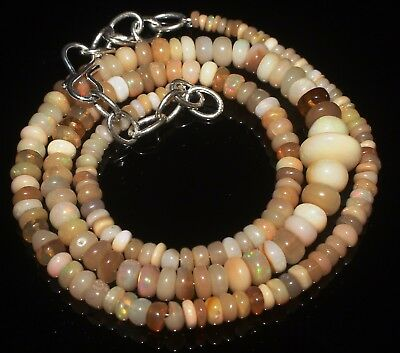 """49 Ctw 2-6.5 Mm 16""""natural Genuine Ethiopian Welo Fire Opal Beads Necklace-R5719"""