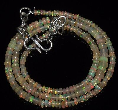 "26 Ctw 2-4 Mm 16""natural Genuine Ethiopian Welo Fire Opal Beads Necklace-R6574"