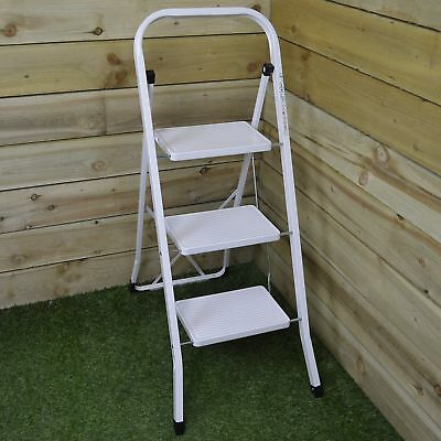 Lightweight Fold Away 3 Tread Steel / Metal Step Ladder with Deep Steps