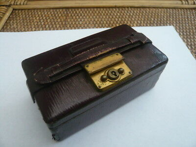 Antique Vintage Old Edwardian Miniature Leather & Brass Travel Jewellery Box