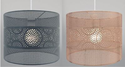"""11"""" Rose Gold Copper Grey Metal Lace Universal Fit Pendant Light Lamp Shade"""