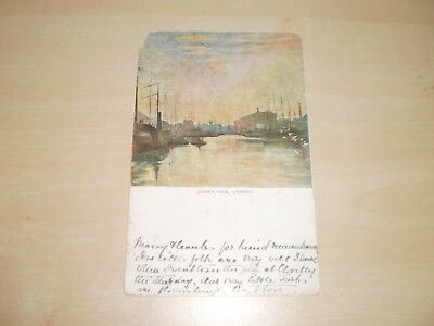 1910 Artwork Postcard Of Queen's Dock Liverpool By Lyceum Series