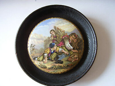"19 Century Prattware Pot Lid ""i See You My Boy"" Set In Ebonised Surround"
